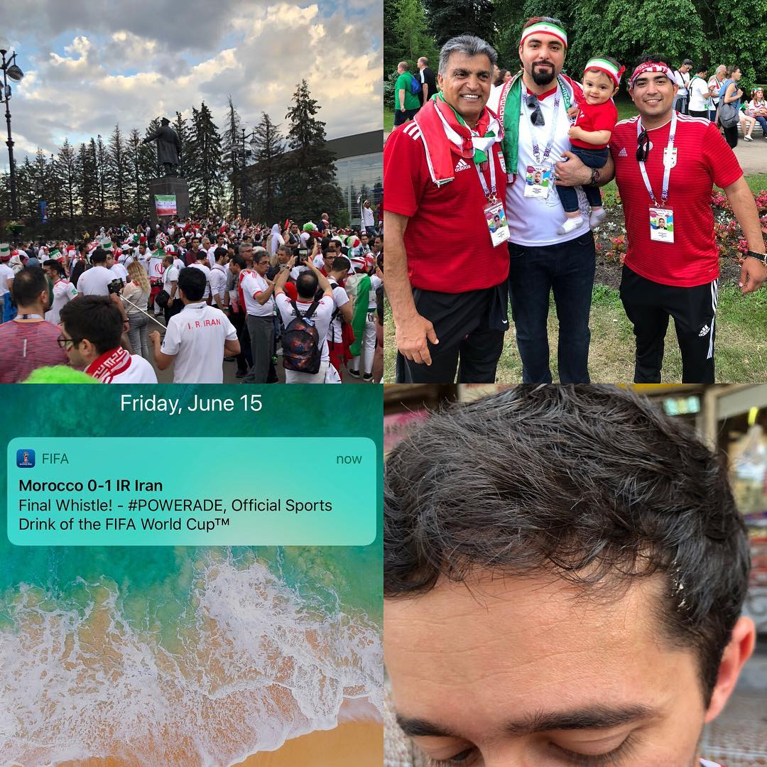 Friday, June 15, 2018: Shaahin gets pooped on walking to the stadium, victory party after the game, randomly ran into our Hesam while I was trying to dispense my consumed beer, 95' goal! Lucky but we'll take it! Iran vs Morocco, St. PETERSBURG RUSSIA