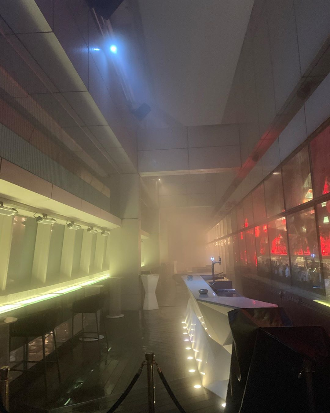 When I first got there, I thought it was frosted glass! Then I realized I was literally in the clouds on the 118th floor at the Ozone Bar in Hong Kong! Of course I had to drink and breathe in the clouds on the patio :) @ok_martee @eric_is_here