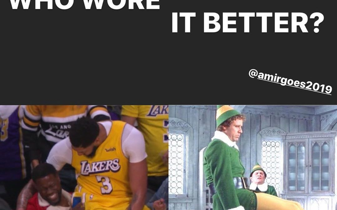 Oh Man, good times good times! My exact thought when I saw this gift of a moment when the Lakers failed against the Clippers in Christmas Day! I'm not sure who wore it better but If I would have to give a vote I would say TIE!! It was at halftime so it was all laughs at that moment hahaha, good times good times