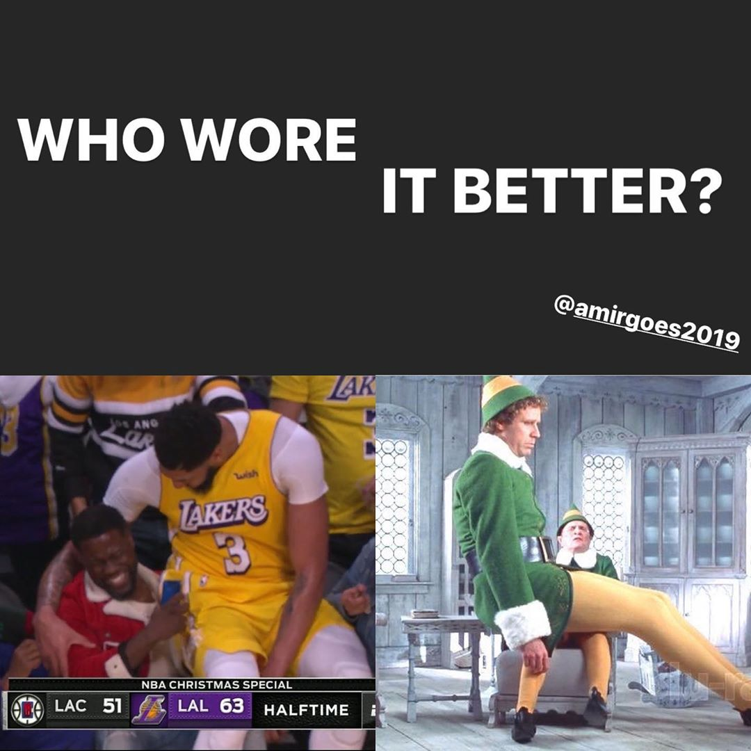 Oh Man, good times good times! My exact thought when I saw this gift of a moment when the Lakers failed against the Clippers in Christmas Day! I'm not sure who wore it better but If I would have to give a vote I would say TIE!! It was at halftime so it was all laughs at that moment hahaha, good times good times @kevinhart4real @antdavis23 @kuz @kingjames @allthesmoke