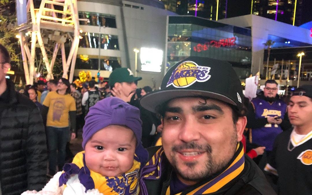 Day 2 without you … I took Mila to show her who you were and where you brought so many people joy She Loves her Laker gear . . . . .