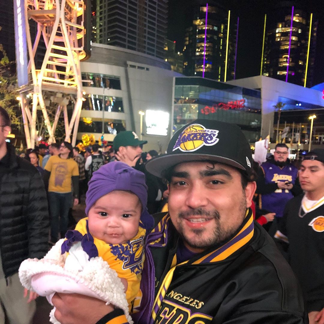 Day 2 without you ... I took Mila to show her who you were and where you brought so many people joy She Loves her Laker gear . . . . .