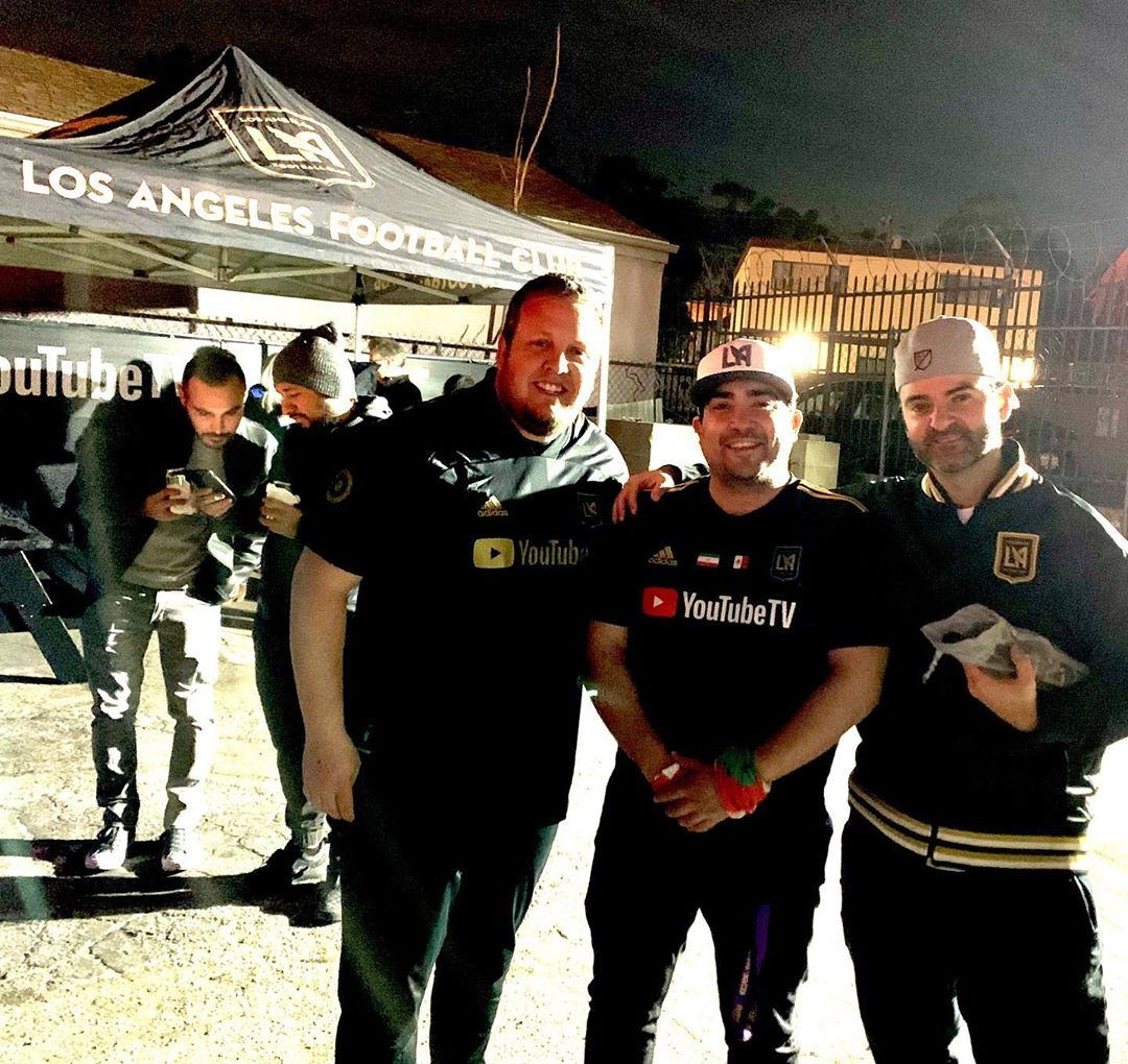 Like minded individuals who share a common bond, our WAGS think we are crazy for loving a sport as much as we do lol jk maybe 🤣 LADIES AND GENTLEMAN, the Defenders of the banc , I present to you @filimonster35 and @lafc_thescarf (and 2 guys looking for their Uber in the background) ... give them a follow if you love soccer and especially if you love LAFC, check them out at @defendersofthebanc  2 of the nicest guys I've met along my journey in life and I love meeting people as passionate about soccer as I . . . . .