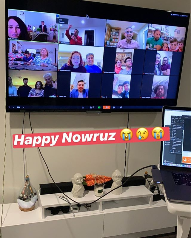 Fun way to get together ! Zoom kinda made me feel like I was in the Brady bunch lol Happy Persian New Years Everyone , first time virtually lol . . . . .