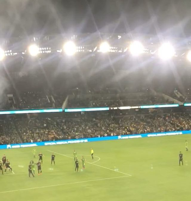 First game of the season waiting for the whistle to blow so our last minute victory is an official victory! My phone slipped out of my hands as I was celebrating jumping up n down lol NO PEOPLE WERE HURT IN THE MAKING OF THIS VIDEO! Happy LAFC day!  …things that happen to me when a last minute victory is secured, jump up n down, make weird noises, and apparently phone slipping out of my hands  . . . . .
