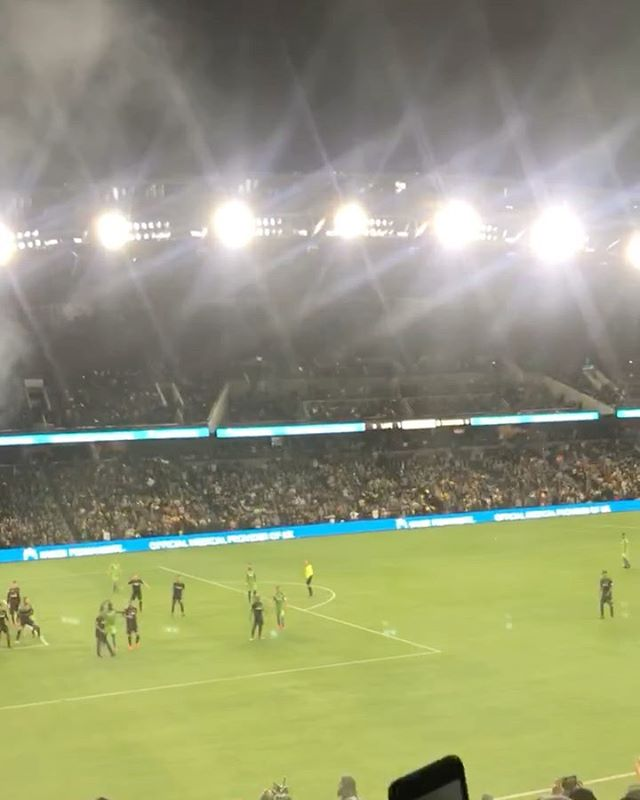 First game of the season waiting for the whistle to blow so our last minute victory is an official victory! My phone slipped out of my hands as I was celebrating jumping up n down lol NO PEOPLE WERE HURT IN THE MAKING OF THIS VIDEO! Happy LAFC day!  ...things that happen to me when a last minute victory is secured, jump up n down, make weird noises, and apparently phone slipping out of my hands  . . . . .